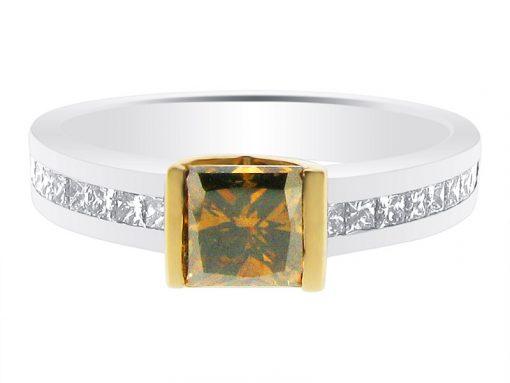 Princess Cut Cognac Diamond Engagement Ring - ER 1133