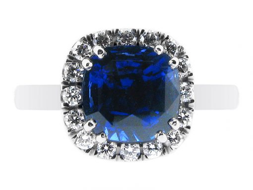 Blue Sapphire Ring Halo Style Engagement Ring - ER 1169