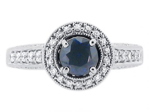 Round Sapphire Set in Diamond Antique Halo Style Engagement Ring - ER 1248