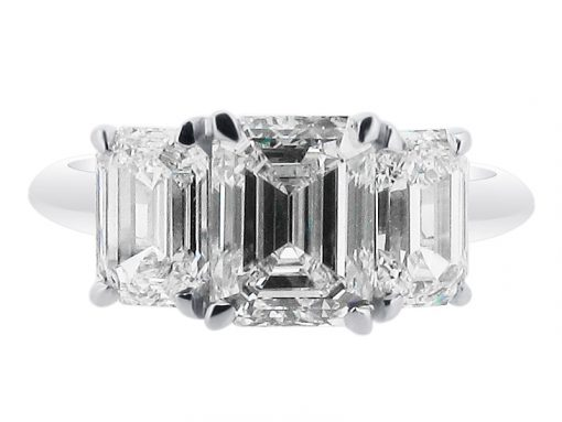 Emerald Cut Trilogy Engagement Ring - ER 1521