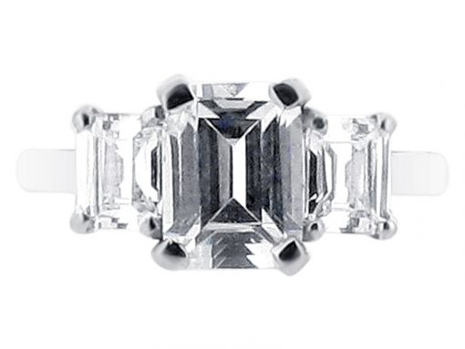 Emerald Cut Three Stone Engagement Ring ER 1627