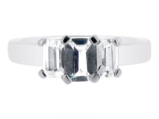 Emerald Cut Three Stone Engagement Ring ER 1845