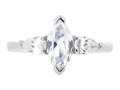 Marquise Cut And Pear Cut Trilogy Engagement Ring ER 1846
