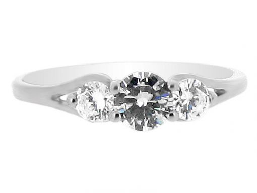 Round Brilliant 3 Stone Stirrup Detail Engagement Ring - ER 1852