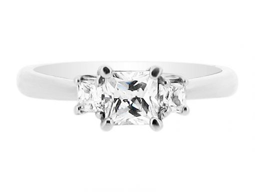 Princess Cut 3 Stone Engagement Ring 1854