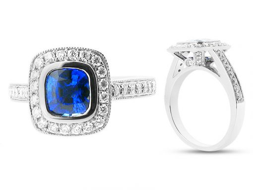 Blue Cushion Cut Sapphire in Halo Setting Engagement Ring - ER 1012