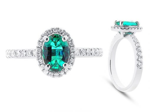Oval Green Emerald in Scallop Set Halo Engagement Ring - ER 1092