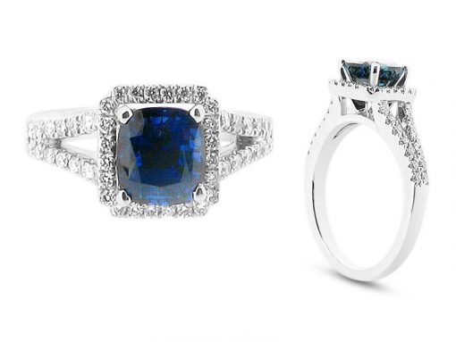 Cushion Cut Sapphire Halo with Scallop Set Diamond Shoulders Engagement Ring - ER 1517