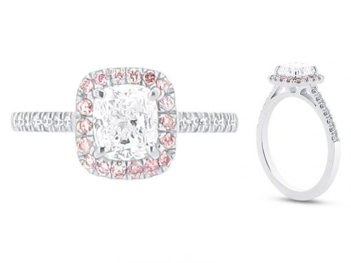 Cushion Cut Solitaire with Pink Diamonds set in Halo Engagement Ring - ER 1577