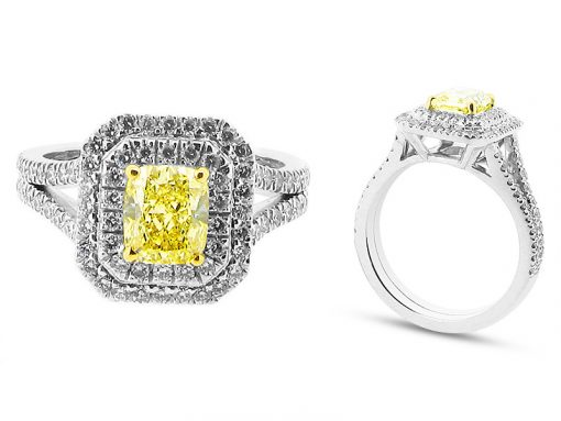 Stunning Fancy Yellow Radiant Cut in Double Halo Surround Engagement Ring - ER 2051