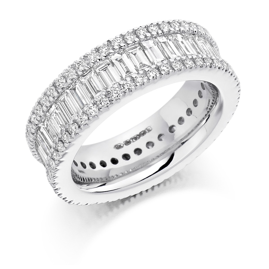 rounds baguettes triple row diamond ring fet