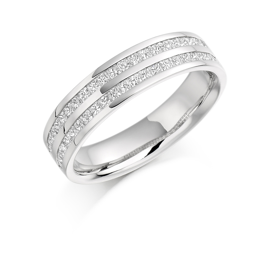 wedding tapered band set baguette white gold rings channel diamond tilt