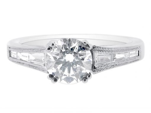 Round Brilliant Solitaire with Tapered Baguettes Engagement Ring - ER 1239