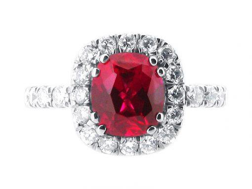 Cushion Ruby Set into Diamond Halo Engagement Ring - ER 1400