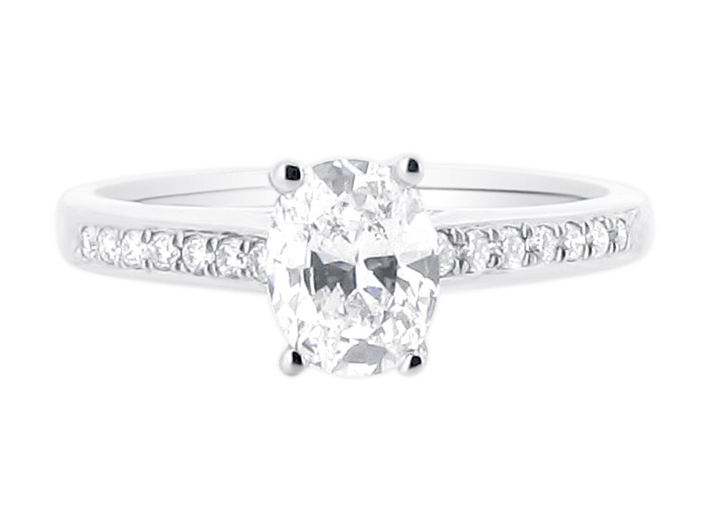 Oval Solitaire in Crossover Setting and Pave Set Shoulders Engagement Ring  - ER 1408