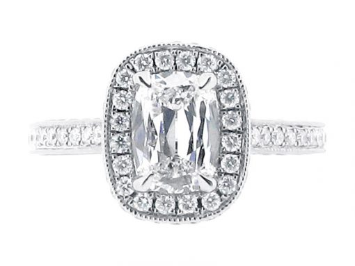 Oval Halo Antique Style Engagement Ring - ER 1553