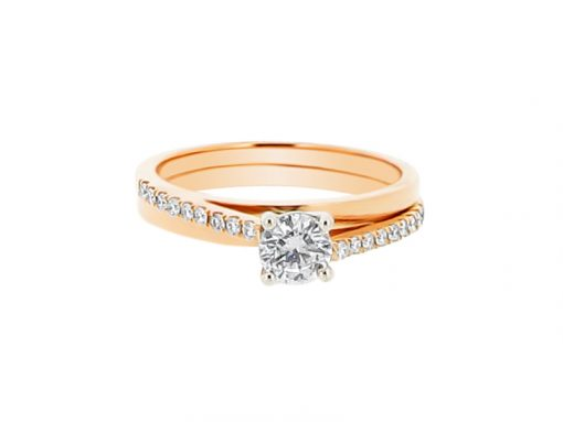 ER 1228-round solitaire offset scallop rose gold