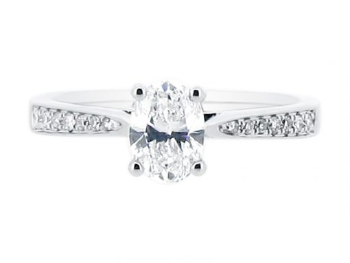 Oval Cut Diamond Solitaire with Tapered Pave Set Shoulders Engagement Ring - ER 2013