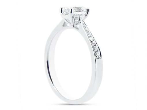 Oval Cut Diamond Solitaire with Tapered Pave Set Shoulders side