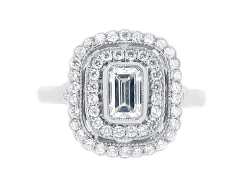 Emerald Cut Antique Double Halo Engagement Ring - ER 2020