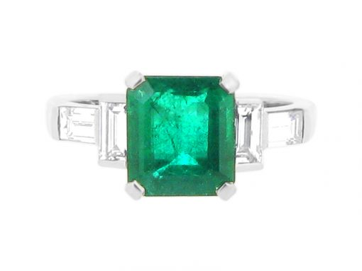 Green Emerald Gemstone with Diamond Baguettes Engagement Ring - ER 2105