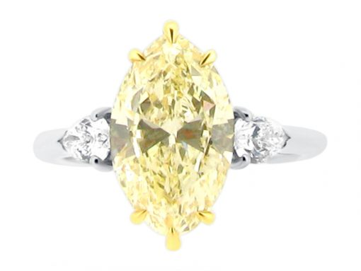 Three Stone Six Claw Yellow Marquise Cut Diamond with Diamond Pear Sides Engagement Ring - ER 2117