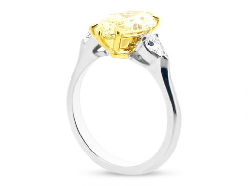 Three Stone Six Claw Yellow Marquise Cut Diamond with Diamond Pear Sides-side