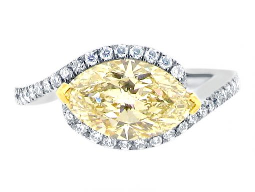 Scallop Set Halo Twist with Yellow Marquise Engagement Ring - ER 2118