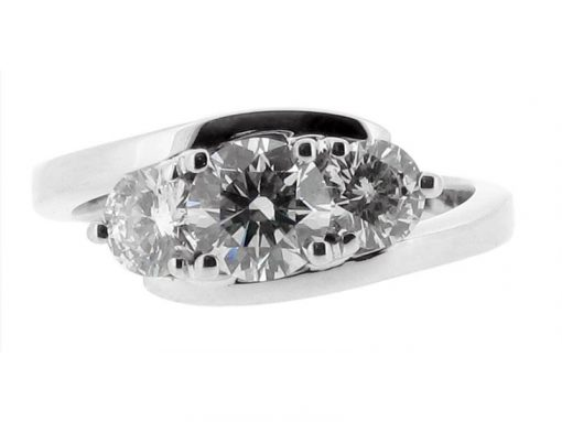 Three Stone Round Brilliant Crossover Engagement Ring - ER 1005