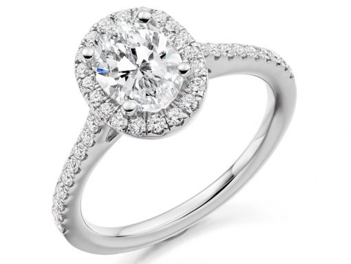 Oval Cut Scallop Set Halo with Delicate Diamond Set Band Engagement Ring - ER 2065