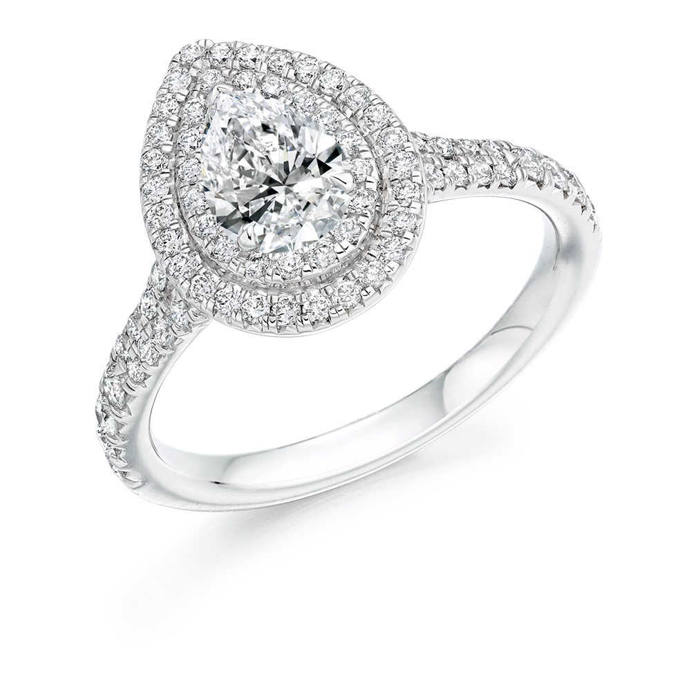 af9ca09c6ff10 Pear Diamond with Scallop Set Double Halo Engagement Ring ER2135