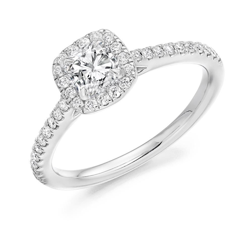 Cushion Cut Scallop Set Halo Engagement Ring Er 2047