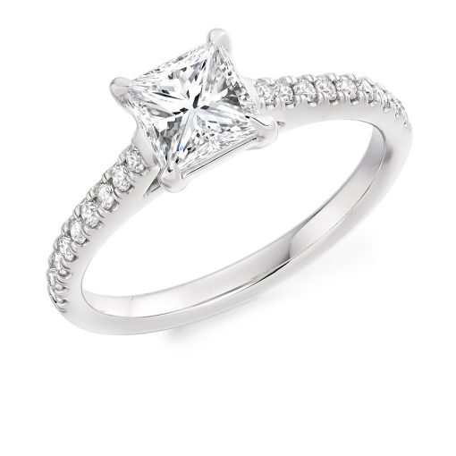 ER 2139 - Princess Cut Solitaire with Scallop Set Shoulders