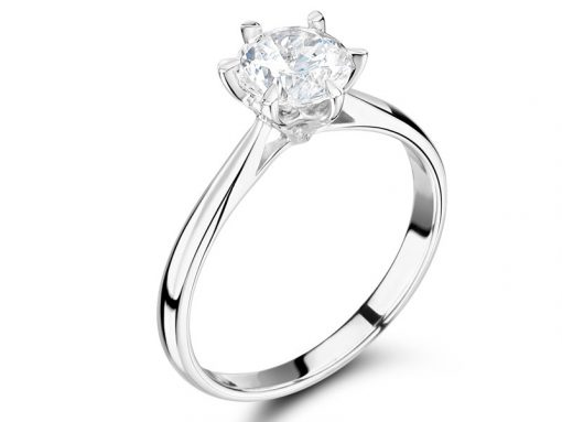 Classic Six Claw Round Solitaire Engagement Rings ER 2146