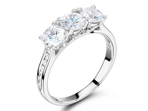 Graduated Trilogy Channel Set Shoulder Engagement Ring ER 1256