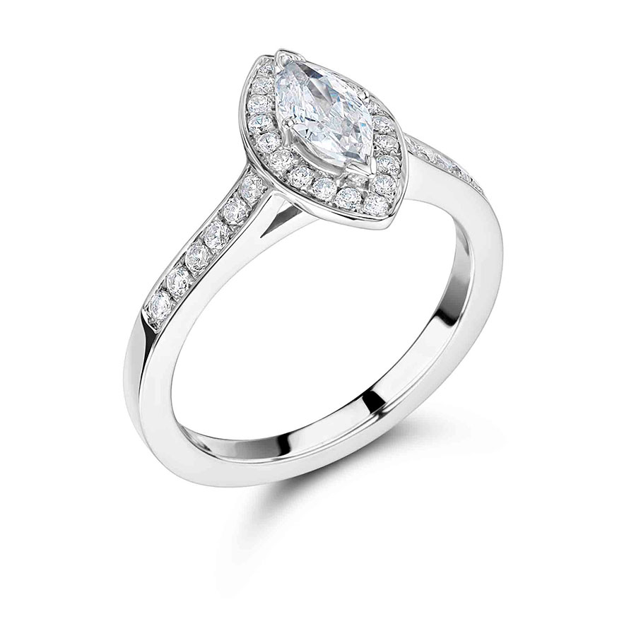 Marquise Ring Bands: Handmade Marquise Halo Engagement Ring