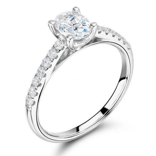 Oval Diamond with Scallop Set Shoulders