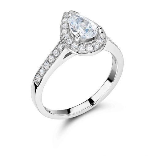 Pear Shape Diamond with Pave Set Halo and Shoulders