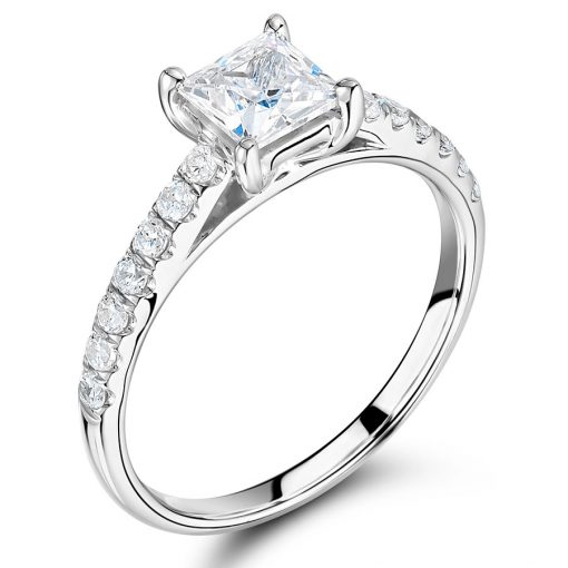 Princess Cut Solitaire with Scallop Set Shoulders