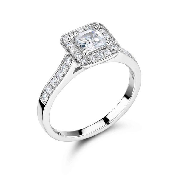 Princess Cut with Pave Set Halo and Shoulders