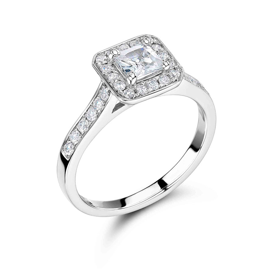 Princess Cut And Pave Diamond Halo Engagement Ring