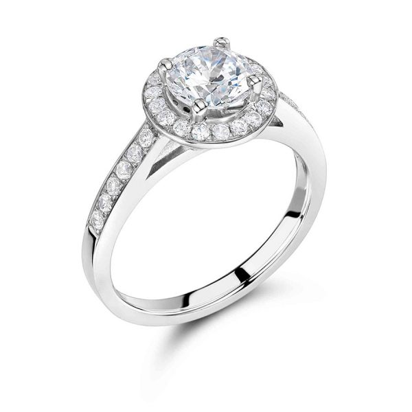 Round Halo Brilliant with Pave Set Shoulders