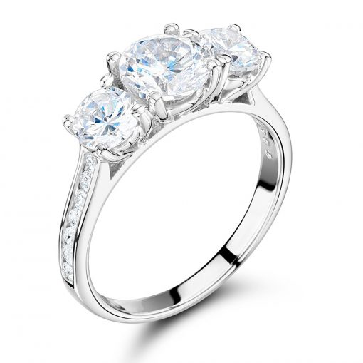 Three Stone Channel Set Shoulder Engagement Ring ER 2165