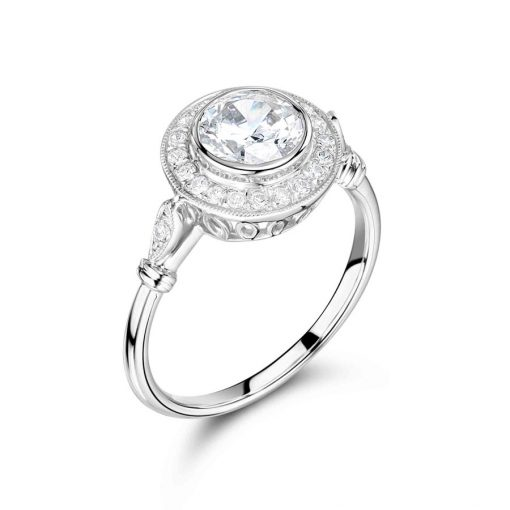 Round Pave Antique Style Halo Engagement Ring - ER2214