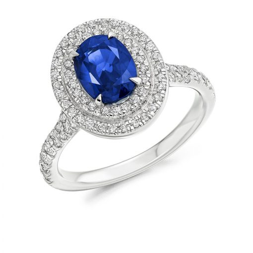 Blue Oval Scallop Set Double Halo Engagement Ring - ER2157