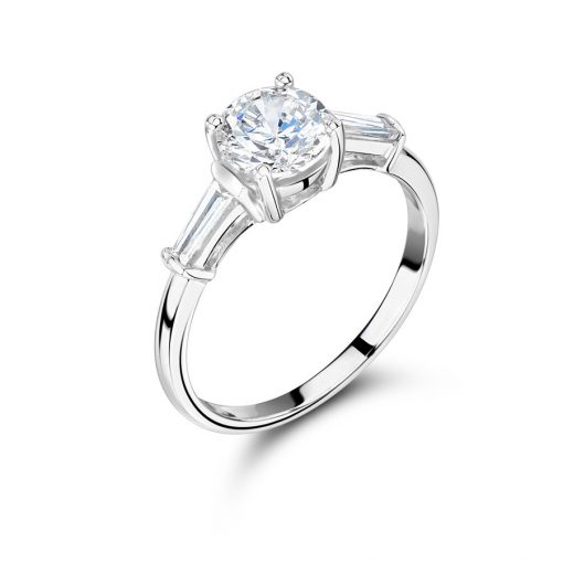 Round Solitaire And Tapered Baguette Engagement Ring - ER1183A