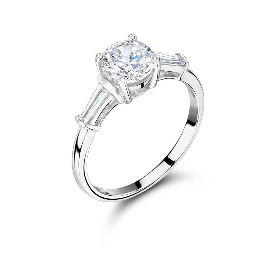 Round Solitaire And Tapered Baguette Engagement Ring