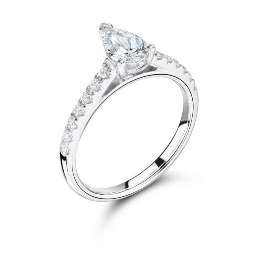 Pear Shaped Solitaire Scallop Set Shoulder Engagement Ring - ER2263