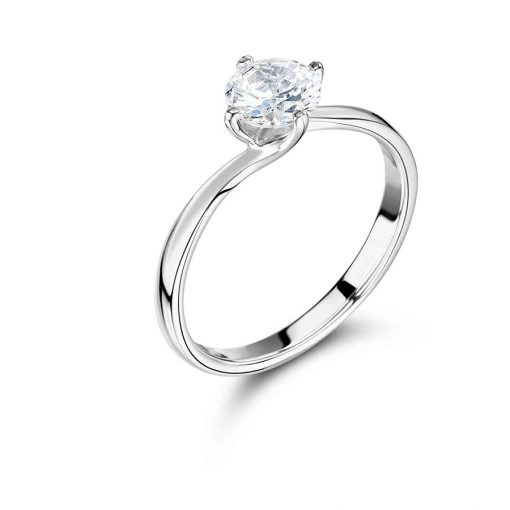 Round Shaped Solitaire Twist Engagement Ring - ER2121
