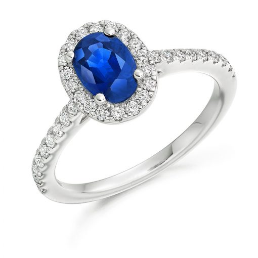 Blue Oval shaped Sapphire Scallop Halo Engagement Ring - ER2065